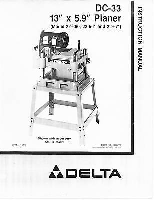 delta model 22-540 planer manual