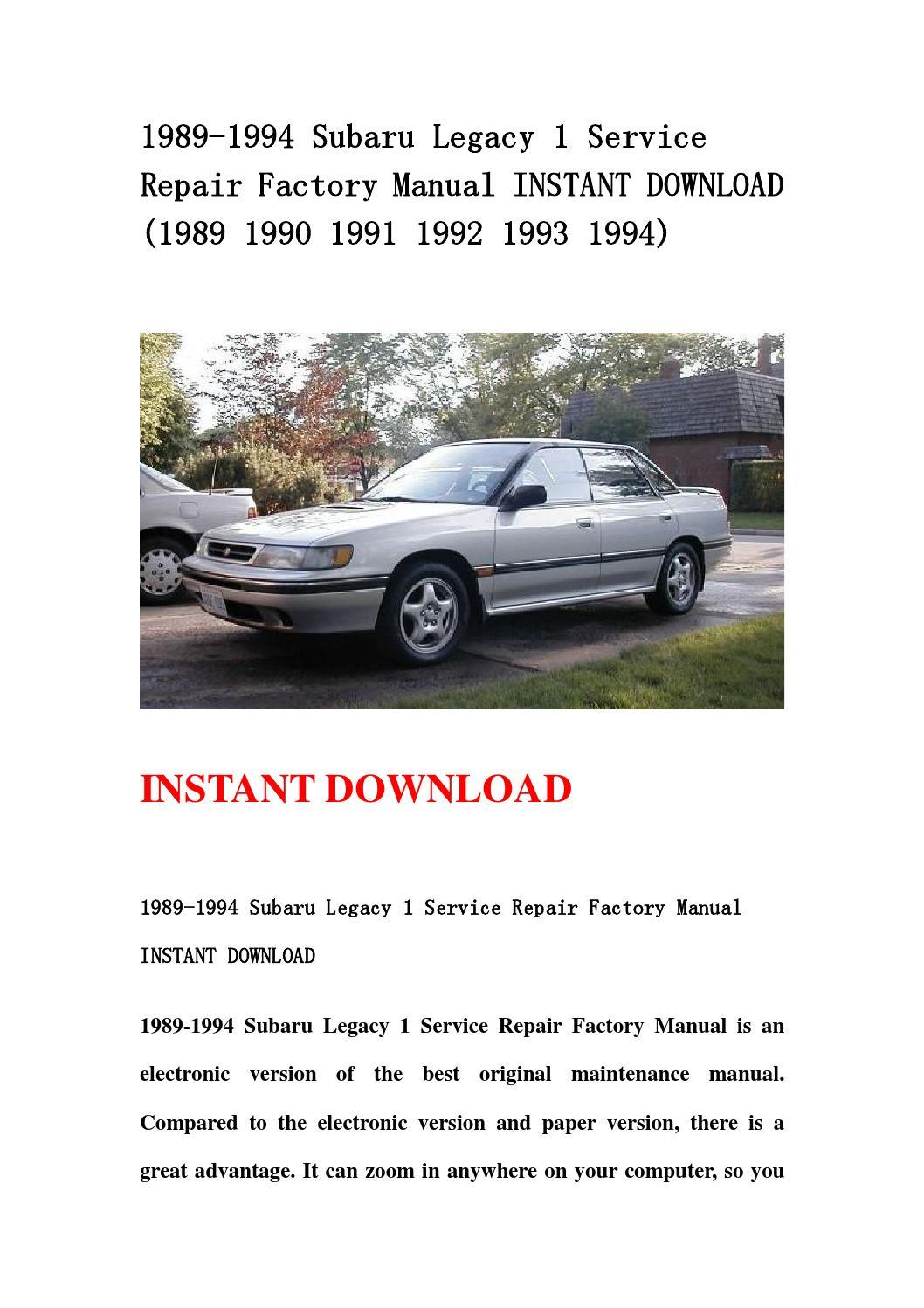 1992 subaru legacy repair manual pdf