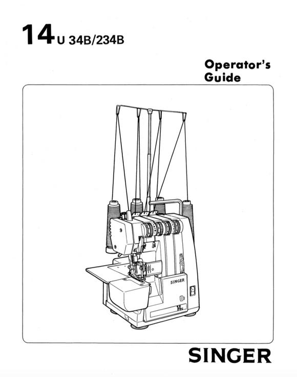 singer serger model 14u34b manual