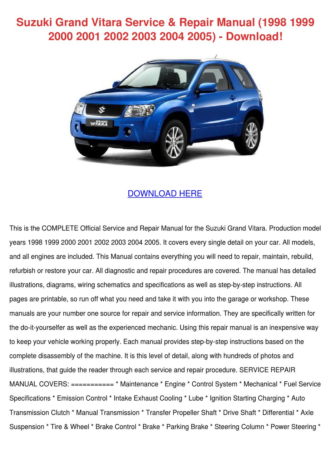 2002 suzuki grand vitara repair manual download