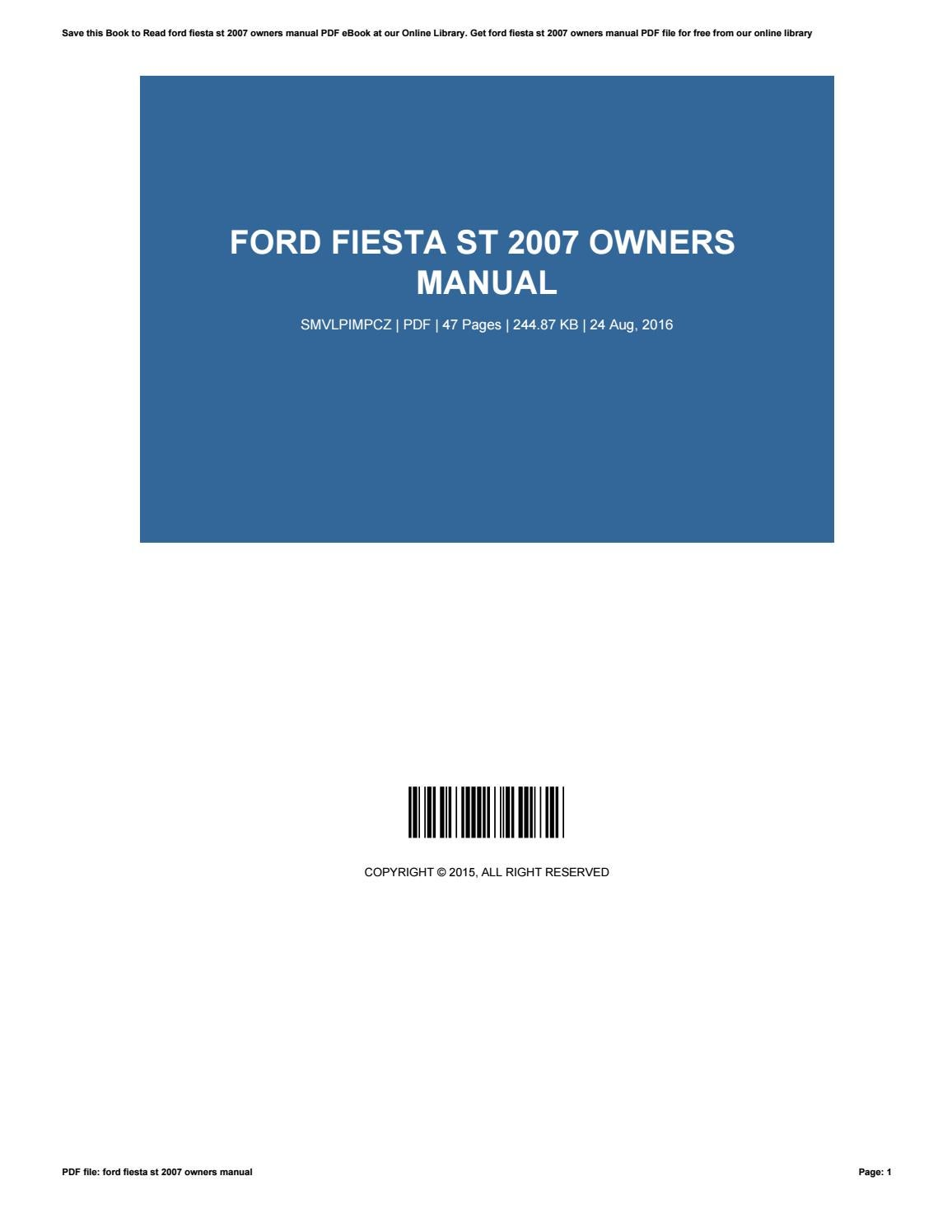 ford fiesta 2007 owners manual download