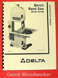 delta 9 bench band saw model 28-150 instruction manual