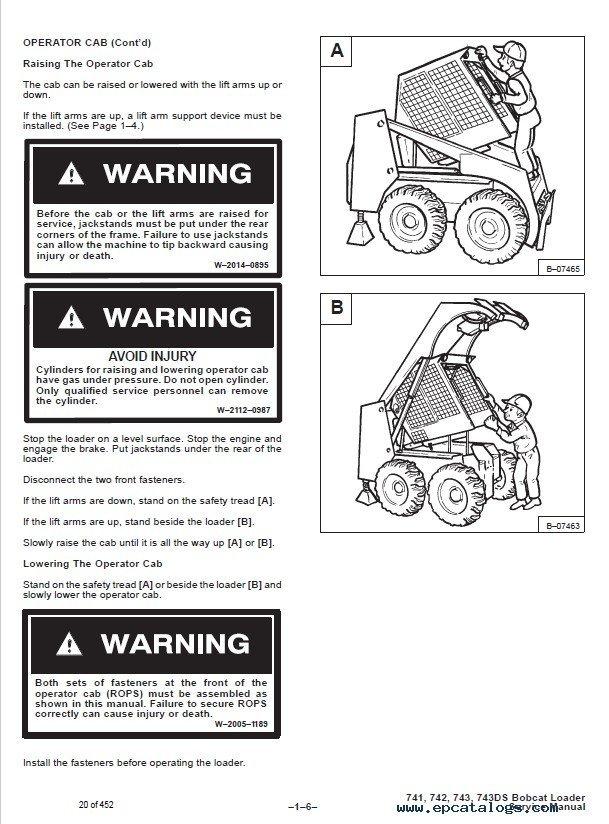 bobcat model 743 b operation manual