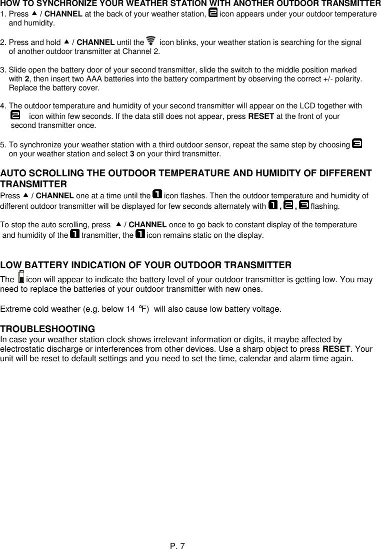 weather channel 1n10 model user manual